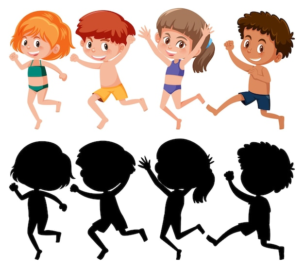 Zestaw różnych postaci z kreskówek dla dzieci w letnim motywie z sylwetką