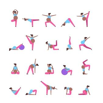 Zestaw różnych pozach kobieta w ciąży robi ćwiczenia jogi afrykańska dziewczyna pracuje fitness ciąża