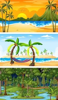 Zestaw różnych poziomych scen leśnych w różnych czasach