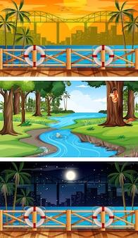 Zestaw różnych poziomych scen leśnych w różnym czasie