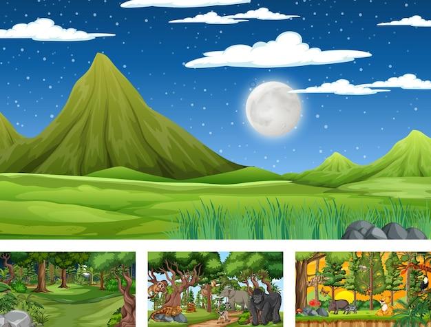 Zestaw różnych poziomych scen natury z różnymi dzikimi zwierzętami