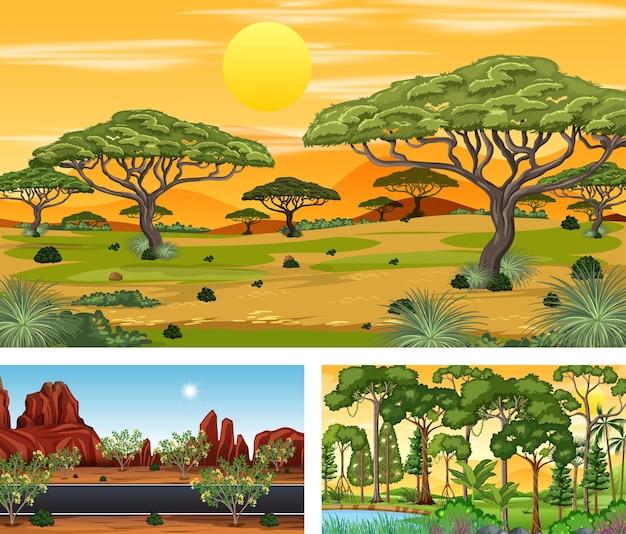Zestaw różnych poziomych scen natury