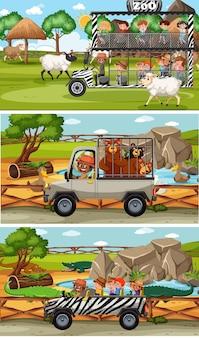 Zestaw różnych poziomych scen safari ze zwierzętami i postacią z kreskówek dla dzieci