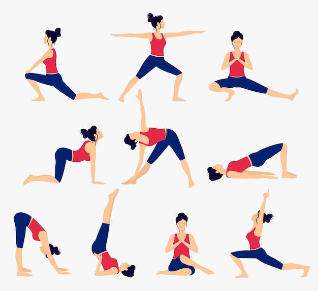 Zestaw różnych pozycji jogi. ilustracja wektorowa kobiecej jogi. zdrowy tryb życia.
