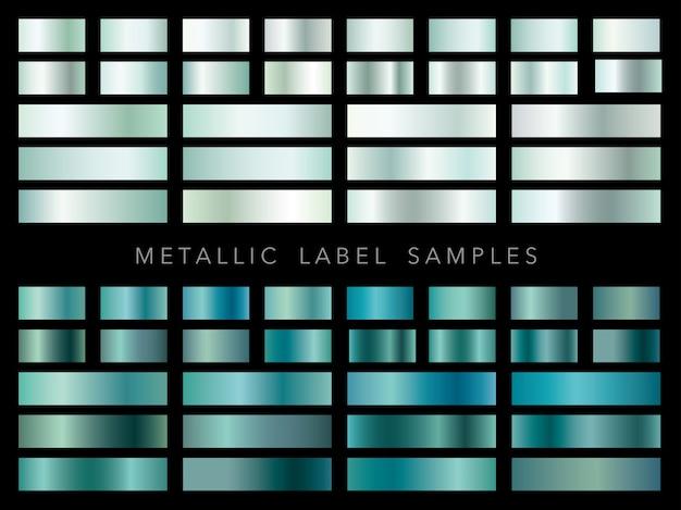 Zestaw różnych próbek metalowych etykiet