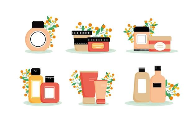 Zestaw różnych produktów do pielęgnacji twarzy i ciała z kwiatowym tłem kremowa żelowa maska balsamowa