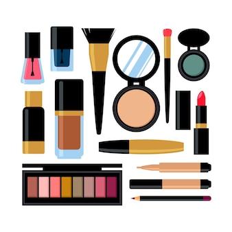 Zestaw różnych produktów kosmetycznych. lakier do paznokci, tusz do rzęs, szminka, cienie do powiek, pędzelek, puder, błyszczyk.