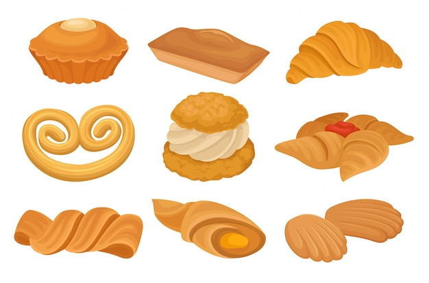 Zestaw różnych produktów piekarniczych. krater, ciastka, chleb.
