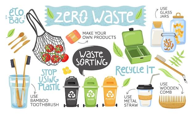 Zestaw różnych przedmiotów ekologicznych i napisów