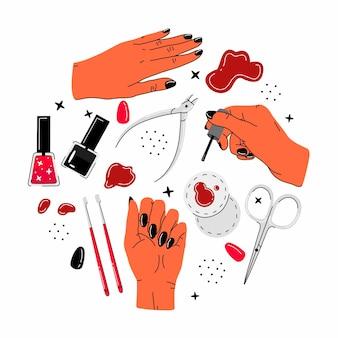 Zestaw różnych przedmiotów i elementów do manicure i pedicure w stylu kreskówki