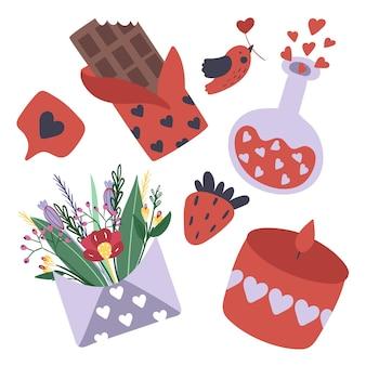 Zestaw różnych przedmiotów na walentynki, takich jak czekolada, eliksir miłosny, bukiet kwiatów, świeca, truskawka.