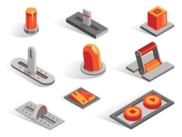 Zestaw różnych przycisków izometryczny lub 3d. kolekcja ikon na białym tle w innym niż. dźwignie, suwaki, regulatory, przełączniki, regulatory i przełączniki w kolorze szarym i pomarańczowym.