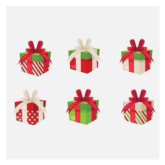 Zestaw różnych pudeł prezentowych. kolorowe pudełko na prezent.