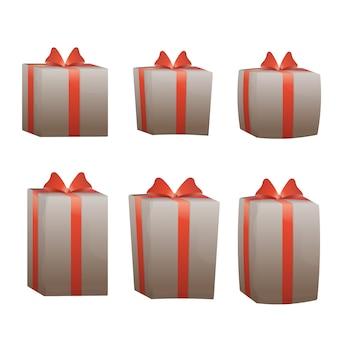 Zestaw różnych pudełek na prezenty. prezenty na białym tle.
