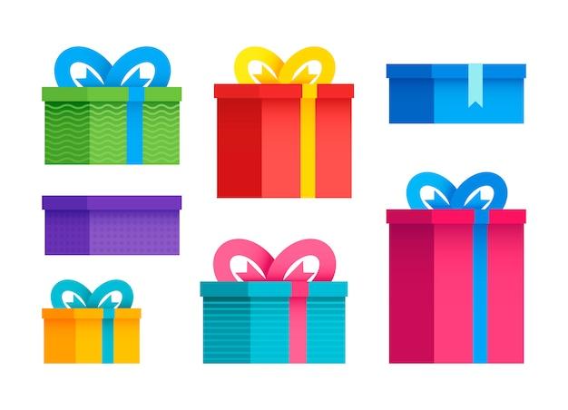 Zestaw różnych pudełek prezentowych w płaskiej konstrukcji. ilustracji wektorowych. kolorowe pudełka na prezenty.
