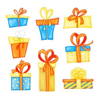 Zestaw różnych pudełek prezentowych