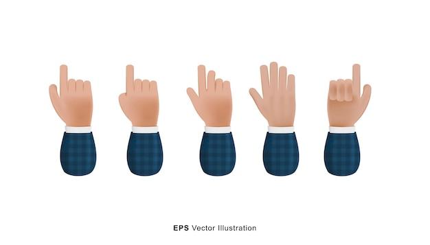 Zestaw różnych rąk gest 3d wektor ilustracja kreskówka na białym tle