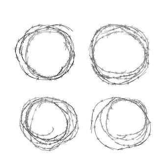 Zestaw różnych realistycznych motek metalowego błyszczącego drutu kolczastego na białym tle