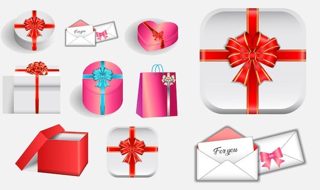 Zestaw różnych realistycznych prezentów walentynkowych ze wstążką wektor eps
