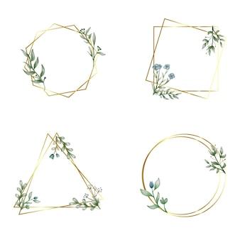 Zestaw różnych ręcznie rysowanych geometrycznych ramek kwiatowych
