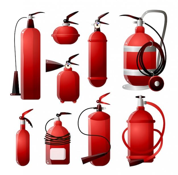 Zestaw różnych rodzajów gaśnic w czerwonych i różnych kształtach. bezpieczeństwo przeciwpożarowe.