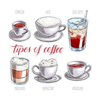 Zestaw różnych rodzajów kawy. ręcznie rysowana ilustracja