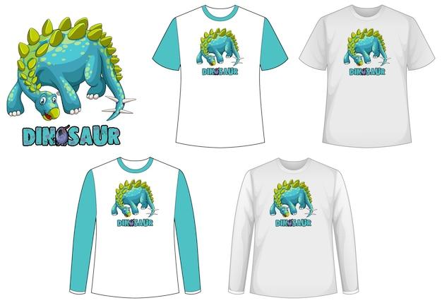 Zestaw różnych rodzajów koszul w motywie dinozaura z logo dinozaura