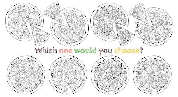 Zestaw różnych rodzajów pizz wektorowych. naszkicować.