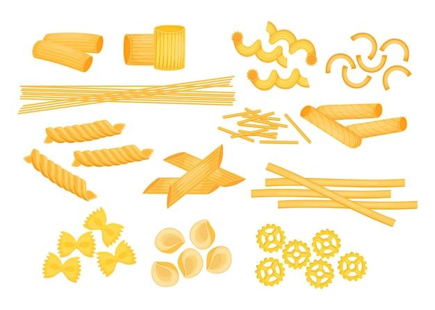 Zestaw różnych rodzajów płaskich ilustracji włoskiego makaronu
