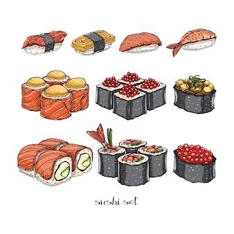 Zestaw różnych rodzajów pysznych bułek i sushi. ręcznie rysowane ilustracji