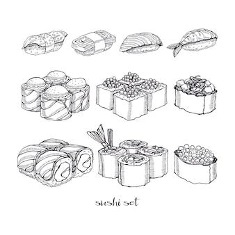 Zestaw różnych rodzajów pysznych bułek i sushi. ręcznie rysowane