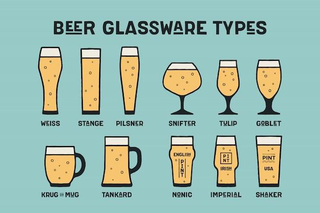 Zestaw różnych rodzajów szkła i kubek do piwa