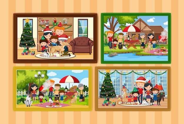 Zestaw różnych rodzinnych ramek do zdjęć wiszących na ścianie