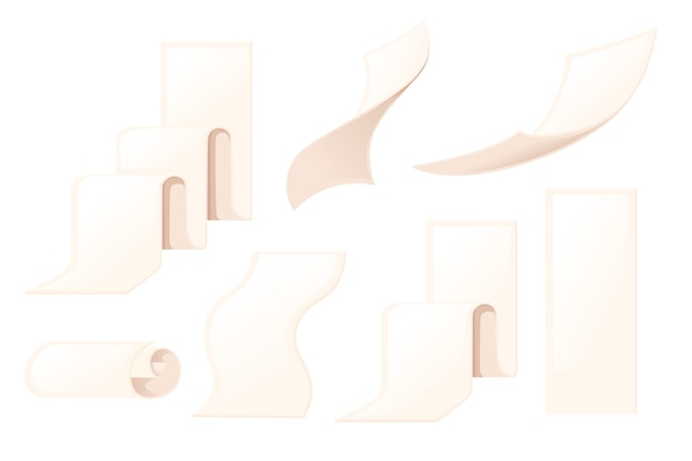 Zestaw różnych rozmiarów puste rachunki paragonów ikona płaskie wektor ilustracja na białym tle.