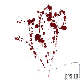 Zestaw różnych rozprysków krwi lub farby