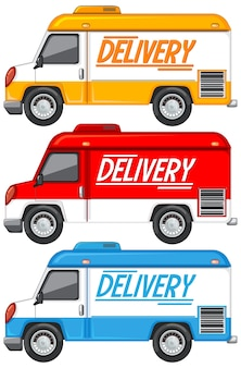 Zestaw różnych samochodów dostawczych lub ciężarowych