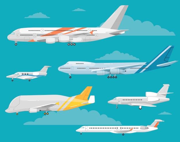 Zestaw różnych samolotów ilustracje stylu płaskiego
