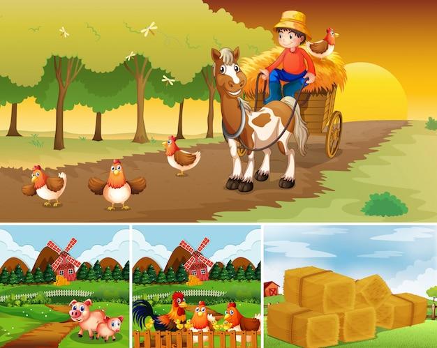 Zestaw różnych scen farmy ze stylem kreskówki farmy zwierząt