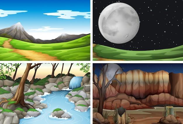 Zestaw różnych scen natury