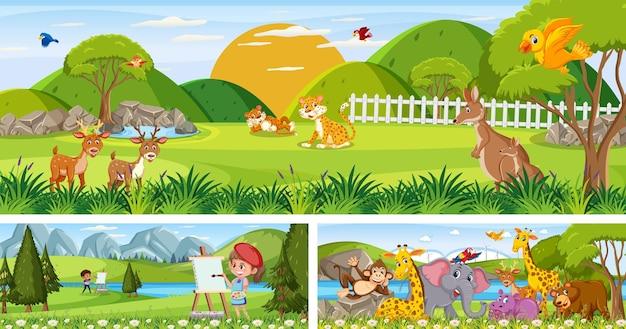 Zestaw różnych scen panoramicznych na zewnątrz z postacią z kreskówek
