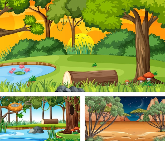 Zestaw różnych scen poziomych lasu