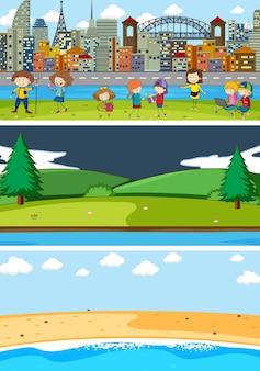 Zestaw różnych scen poziomych tła z postacią z kreskówek dla dzieci doodle