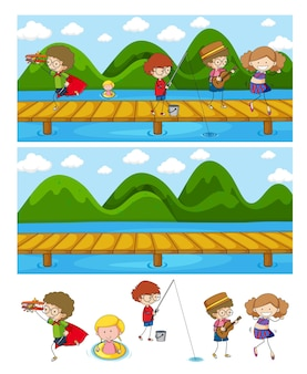 Zestaw Różnych Scen Poziomych Z Postacią Z Kreskówek Dla Dzieci Doodle Darmowych Wektorów