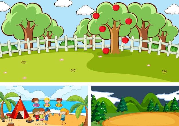 Zestaw różnych scen poziomych z postacią z kreskówek dla dzieci doodle