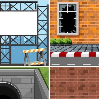 Zestaw różnych scen przemysłowych