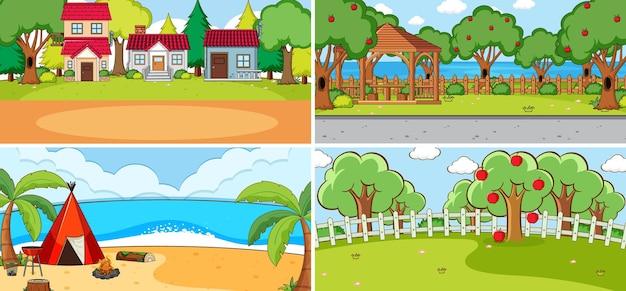 Zestaw różnych scen przyrodniczych w stylu kreskówek