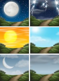 Zestaw różnych scen ścieżki przyrody