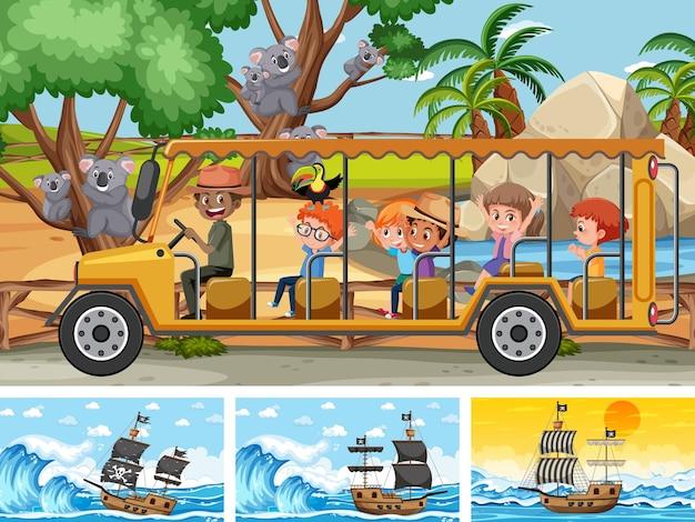 Zestaw różnych scen ze statkiem pirackim na morzu i zwierzętami w zoo