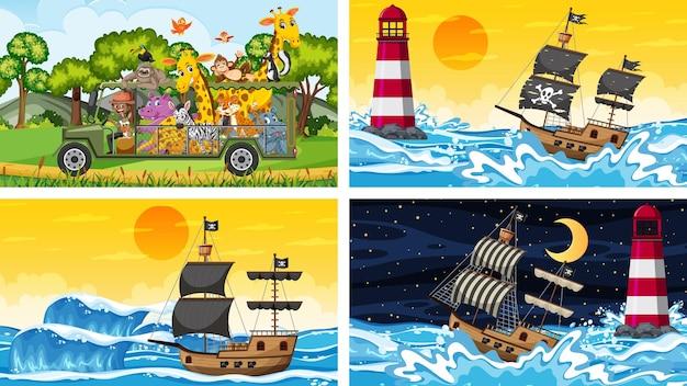 Zestaw różnych scen ze zwierzętami w zoo i statkiem pirackim na morzu