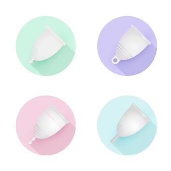 Zestaw różnych silikonowych kubków menstruacyjnych. ekologiczny, zmywalny produkt intymny.
